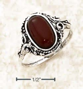 Sterling Silver Victorian Style Oval Cherry Amber Ring