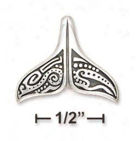 Sterling Silvery Whale Tail Aboriginal Charm