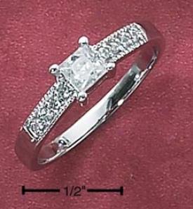 Sterling Silver Womens 4mm Princess Cut Cz Circle Pave Cz Ring