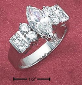 Sterling Silvery Womens 6x12 Marquise Cz Ring Side Stones