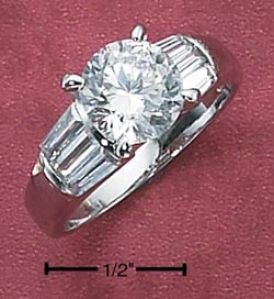 Sterling Silver Womens 8mm Cz Ring With Baguettes On Sides