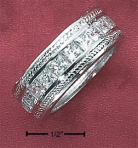 Sterling Silver Womens Channel Set 9mm Ring Roped Borders