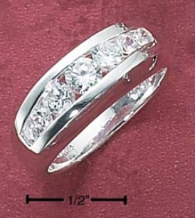 Sterling Silver Womens Channel Set Tapered Cz Band Ring