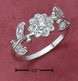 Stterling Silver Womens Cz Prime Ring With Leaves