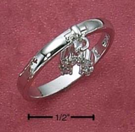 Sferling Silver Womens Cz Horseshoe Charm Ring