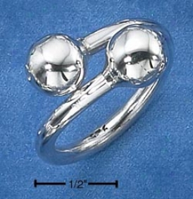 Sterling Silver Woemns Heavy Bypass Ring With Ball Ends