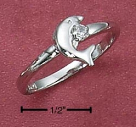 Sterling Silver Womebs Small Jumping Dolphin Ring With Cz