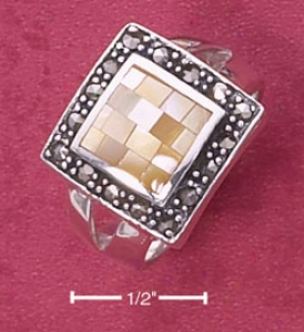 Sterling Silver Yelllow Mop Mosaic Ring With Marcasite Border