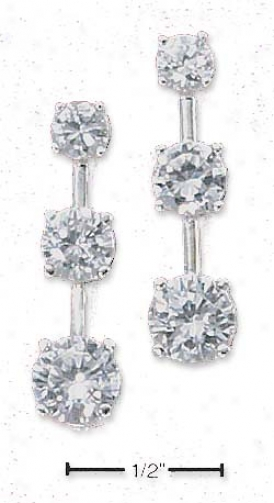 Sterling Silver Yesterday Today Tomorrow Cz Post Earrings
