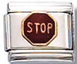 Stop Sign Italian Charm Link