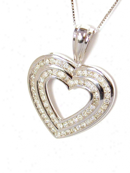 Stunning Coupled Row Round Diamond Heart Pendant
