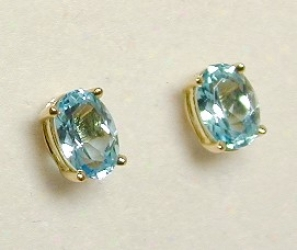 Stunning Oval Blue Topaz Stud Earrings
