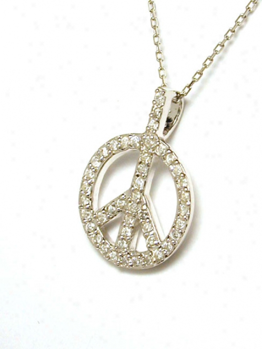 Stunning Pave-set Cubic Zirconia Cz Peace Sign Pendant