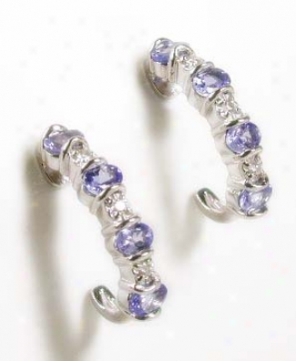 Tanzanite & Diamond J Hoop Earrings