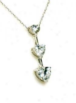 Three Stone Heart Cubic Cz Pendant