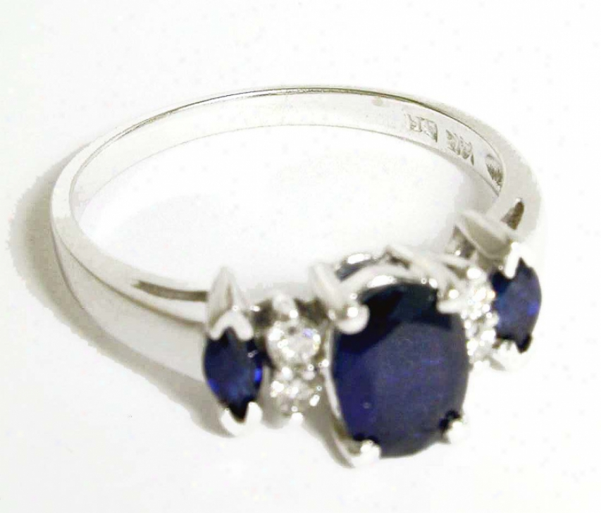 Three-stone Oval And Marquis Sapphire & Diamond Ring