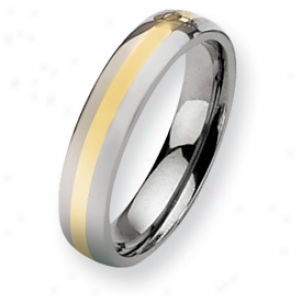 Titanium 14k Gold Inlay 5mm Polished Cord Ring - Size 7