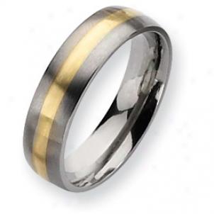 Titanium 14k Gold Inlay 6mm Brushed Band Ring - Size 11.5