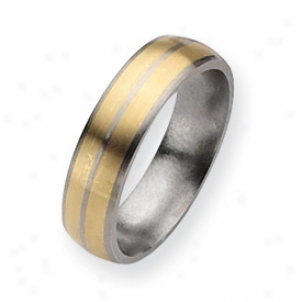 Titanium 14k Gold Inlay 6mm Brushed Band Ring - Size 15