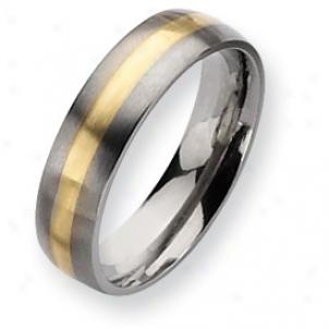 Titanium 14k Gold nIlay 6mm Brushed Band Ring - Sizing 7