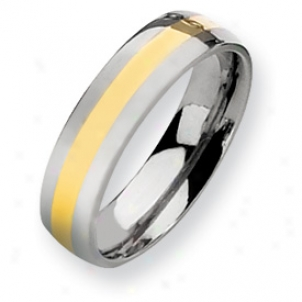 Titanium 14k Gold Inlay 6mm Polished Band Ring - Size 10