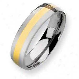 Titanium 14k Gold Inlay 6mm Polished Band Ring - Sizing 6