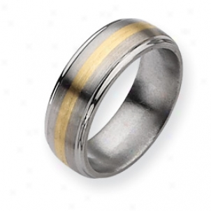 Titanium 14k Gold Inlay 8mm Brush/polish Band - Sizing 11