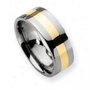 Titanium 14k Gold Inlay 8mm Polished Band Ring - Size 12