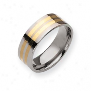 Titsnium 14k Gold Inlay 8mm Polished Band Ring - Size 9