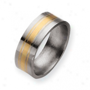 Titanium 14k Gold Inlay 8mm Satin Band Ring - Size 10.5