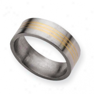 Titanium 14k Gold Inlay 8mm Satin Band Ring - Size 11.5