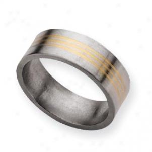 Titanium 14k Gold Inlay 8mm Satin Band Ring - Size 11.5
