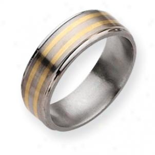 Titanium 14k Gold Inlay 8mm Satin Polished Band Ring Size 11