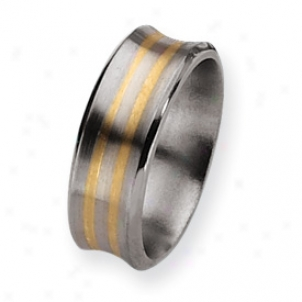 Titanium 14k Gold Inlay 8mm Satin Polished Band - Size 8.5