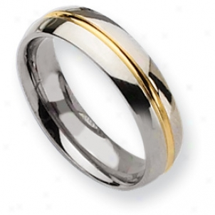 Titanium 14k Gild Plated 6mm Polished Band Ring - Size 10.5