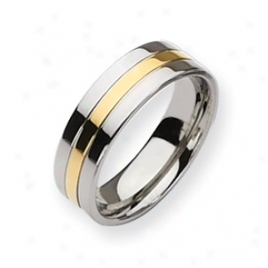 Titanium 14k Gold Plated 7mm Polished Band Ring - Size 11