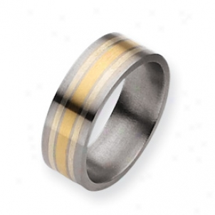 Titanium 14k Gold St. Silver Inlay 8mm Satin Band - Size 10