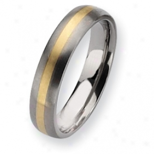 Titanium 14k Inlay Brushed 5mm Wedding Band Sound - Size 9.25