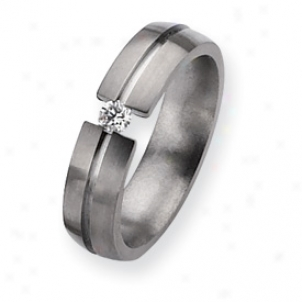 Titanium 6mm 0.15ct. Diamond Brushed Band Ring - Bigness 8.5
