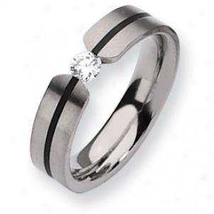 Titanium 6mm 0.33ct. Diamond Band Ring - Size 6.5