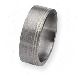 Titanium And Sterling Inlays Satin 8mm Band Ring - Size 10