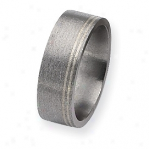 Titanium And Sterling Inlays Satin 8mm Band Ring - Size 9