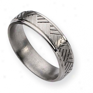 Titanium Basket Weave Design 6mm Sat/polish Band - Size 12