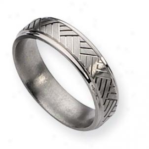 Titanium Basket Weave Design 6mm Sat/polish Band - Size 13