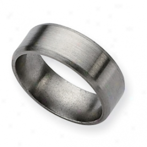 Titanium Beveled Edge 8mm Brushed Band Ring - Size 12