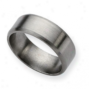 Titanium Beveled Power to wound 8mm Brushed Band Ring - Size 13