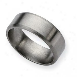 Titanium Beveled Edge 8mm Brushed Band Ring - Size 6