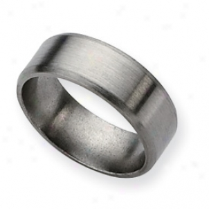 Titanium Beveled Edge 8mm Brushed Band Ring - Size 7.5