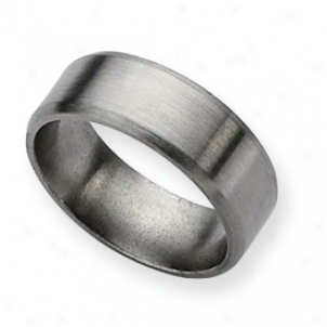 Tigaium Beveled Border 8mm Brushed Band Ring - Size 8.5