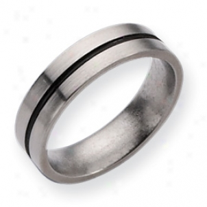 Titanium Blsck Accent 6mm Satin Band Ring - Size 8.5